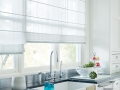 Designer Roman Shades in the kitchen