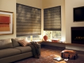 Designer Roman Shades in the living room