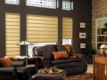 Vignette® Modern Roman Shades in the den