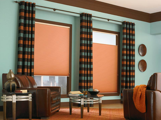By Altra Home Decor DuetteR Honeycomb Shades With Coordinating Draperies